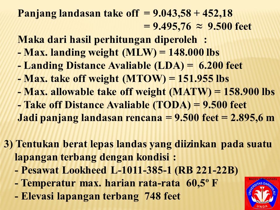Panjang landasan take off = 9.043,58 + 452,18
