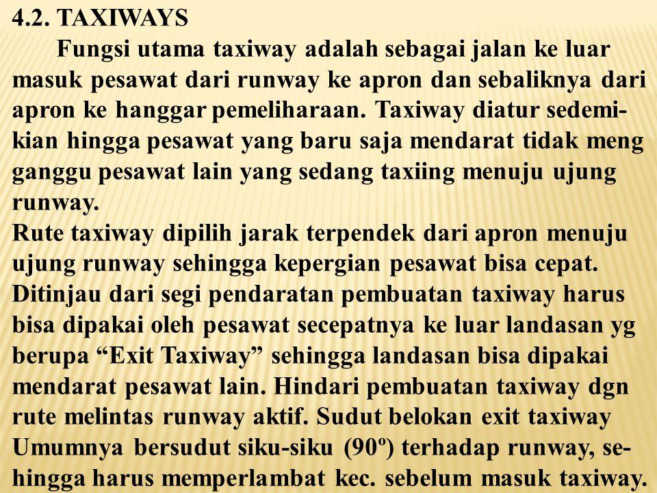 4.2. TAXIWAYS Fungsi utama taxiway adalah sebagai jalan ke luar. masuk pesawat dari runway ke apron dan sebaliknya dari.