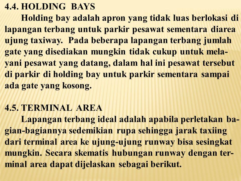 4.4. HOLDING BAYS Holding bay adalah apron yang tidak luas berlokasi di. lapangan terbang untuk parkir pesawat sementara diarea.