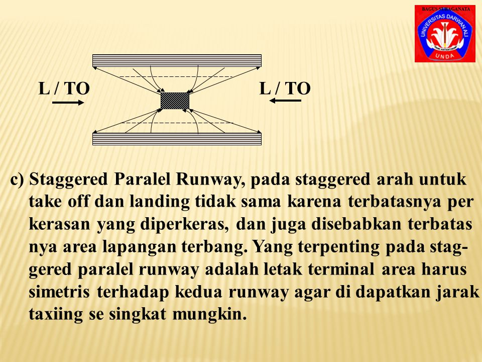 L / TO L / TO c) Staggered Paralel Runway, pada staggered arah untuk.