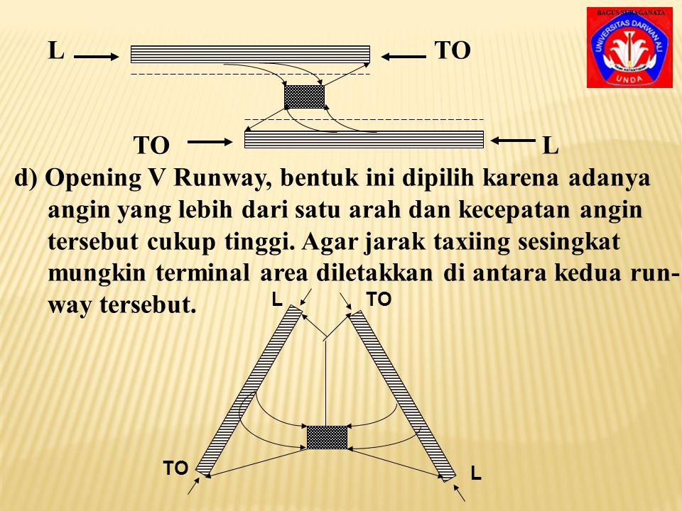 d) Opening V Runway, bentuk ini dipilih karena adanya