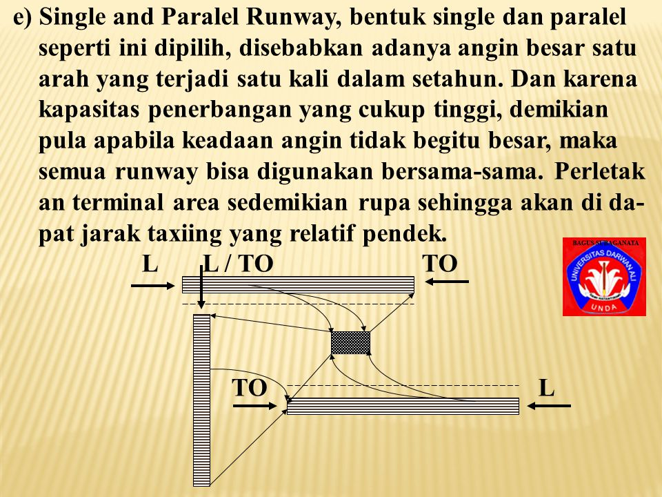 e) Single and Paralel Runway, bentuk single dan paralel
