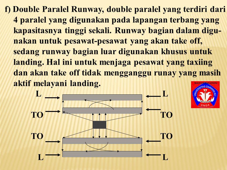 f) Double Paralel Runway, double paralel yang terdiri dari