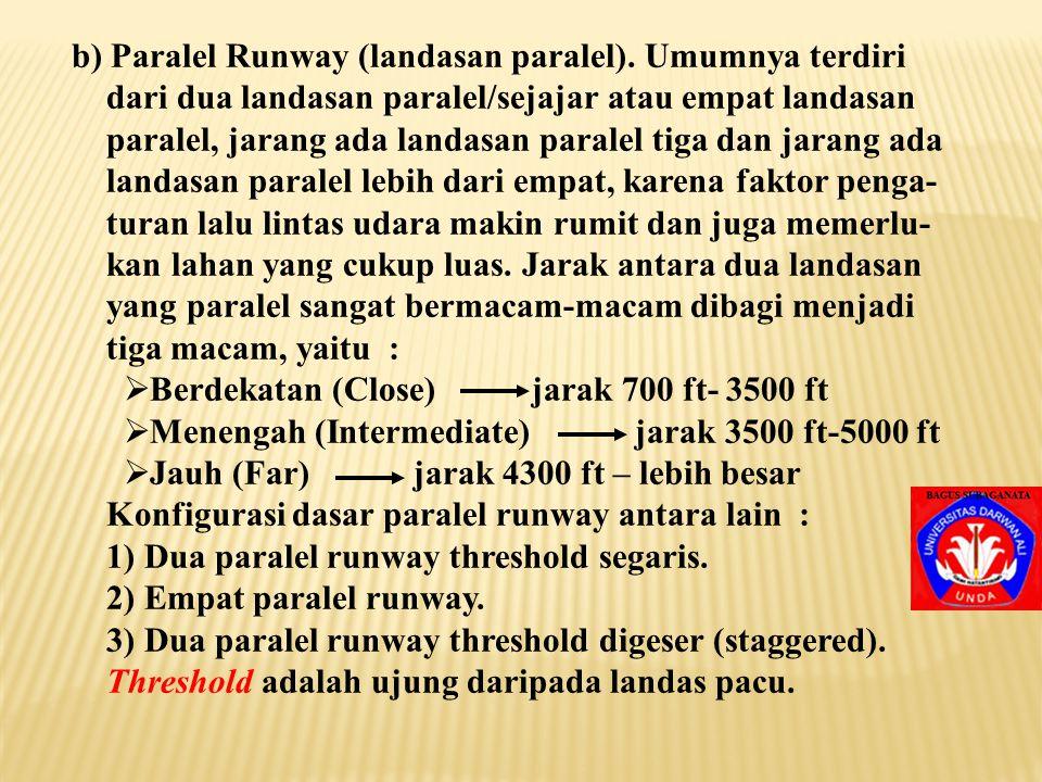 b) Paralel Runway (landasan paralel). Umumnya terdiri