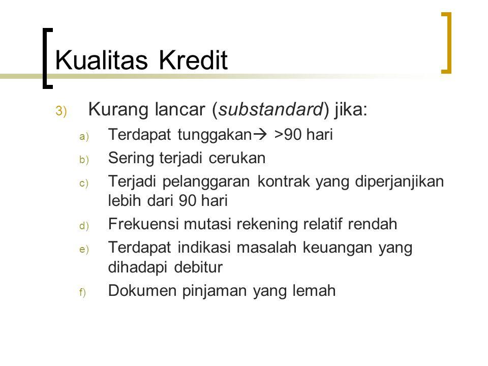 Kualitas Kredit Kurang lancar (substandard) jika: