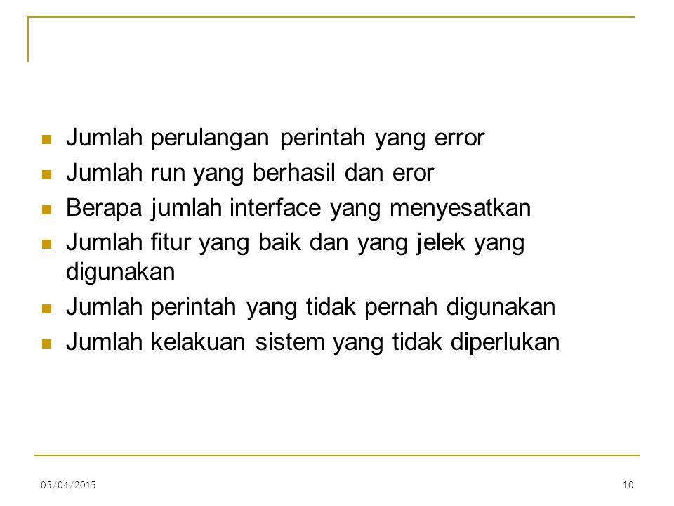 Jumlah perulangan perintah yang error