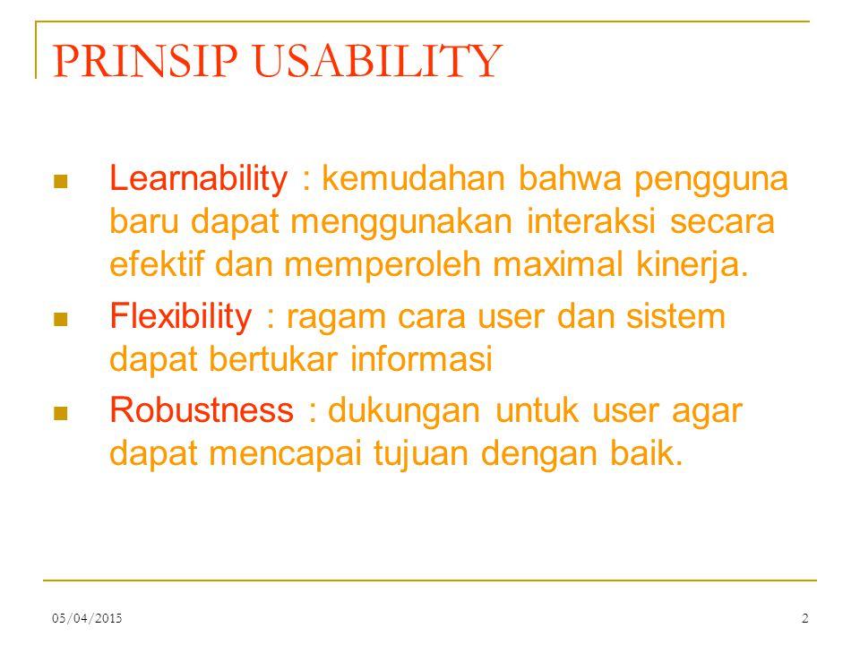PRINSIP USABILITY Learnability : kemudahan bahwa pengguna baru dapat menggunakan interaksi secara efektif dan memperoleh maximal kinerja.