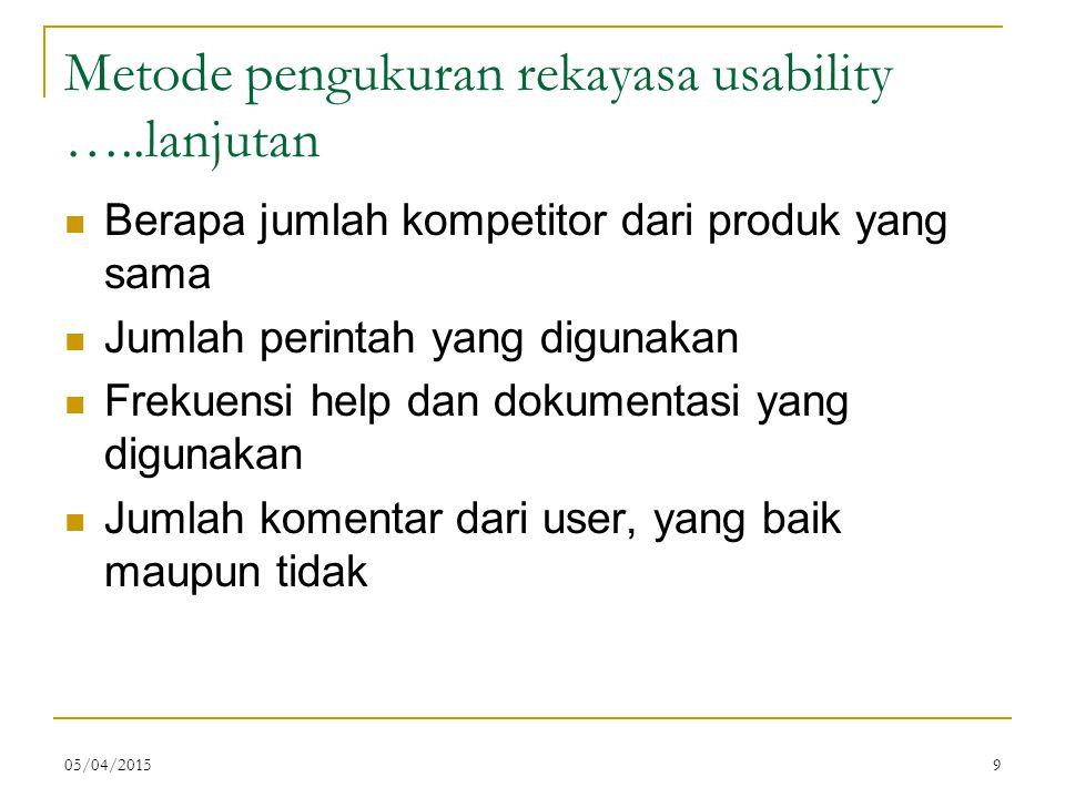 Metode pengukuran rekayasa usability …..lanjutan