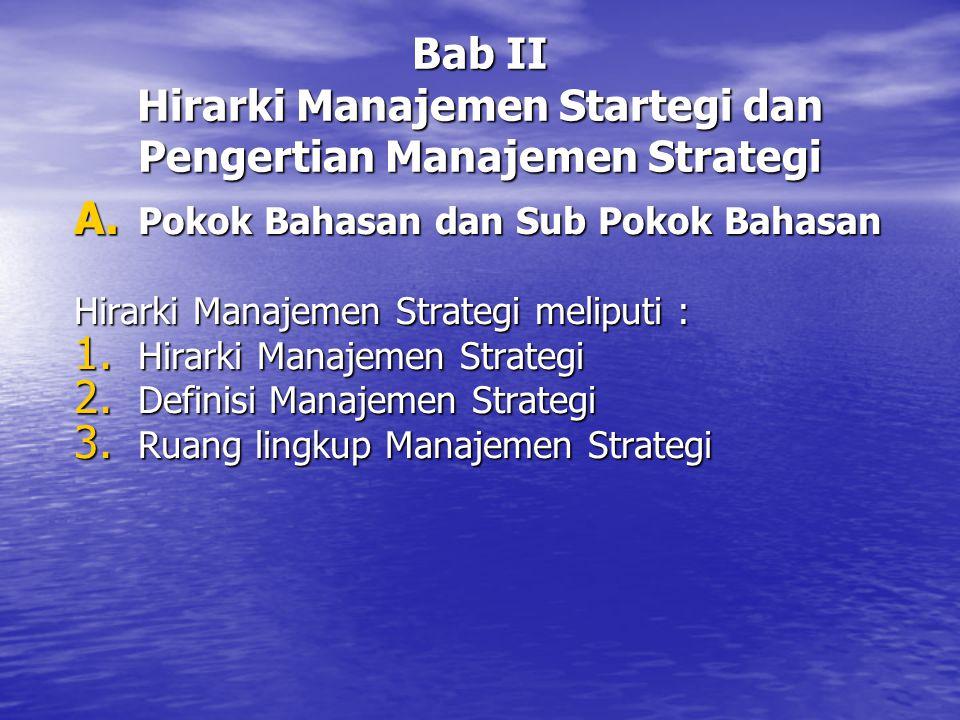Bab II Hirarki Manajemen Startegi dan Pengertian Manajemen Strategi