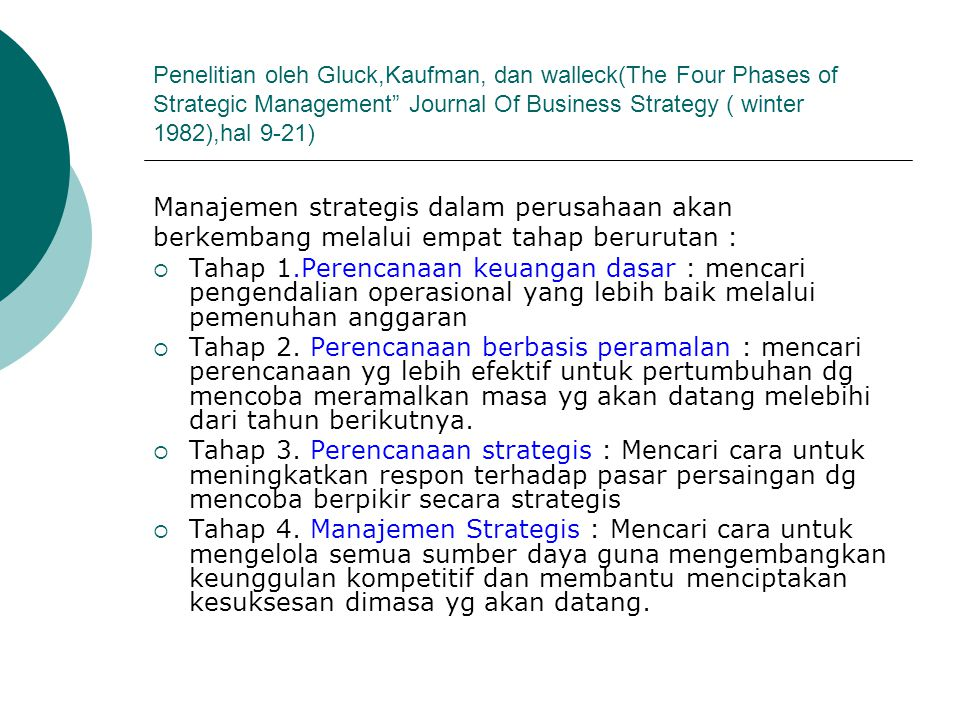 Manajemen strategis dalam perusahaan akan