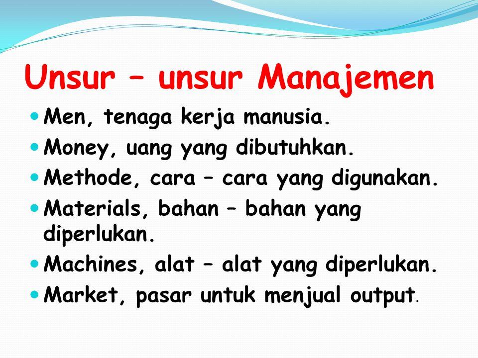 Unsur – unsur Manajemen