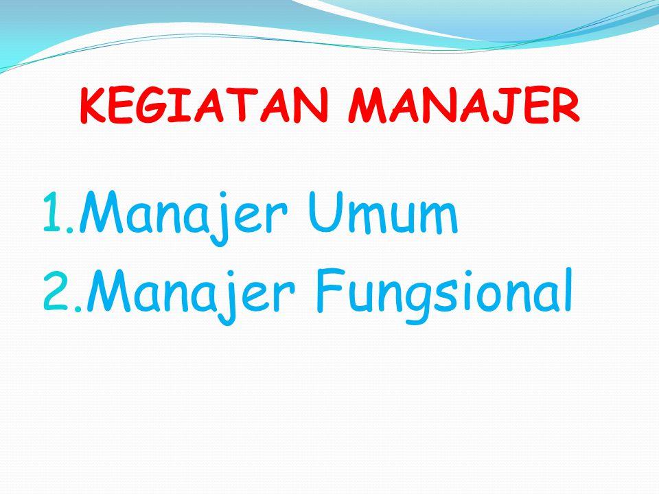 KEGIATAN MANAJER Manajer Umum Manajer Fungsional