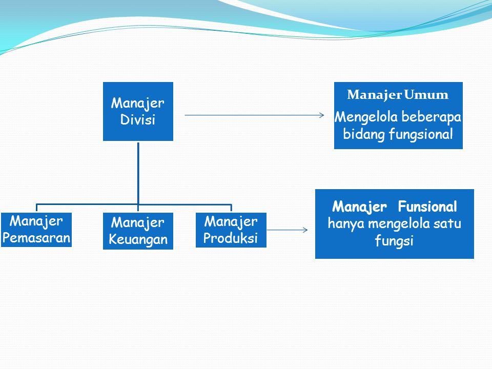 Mengelola beberapa bidang fungsional Manajer Umum