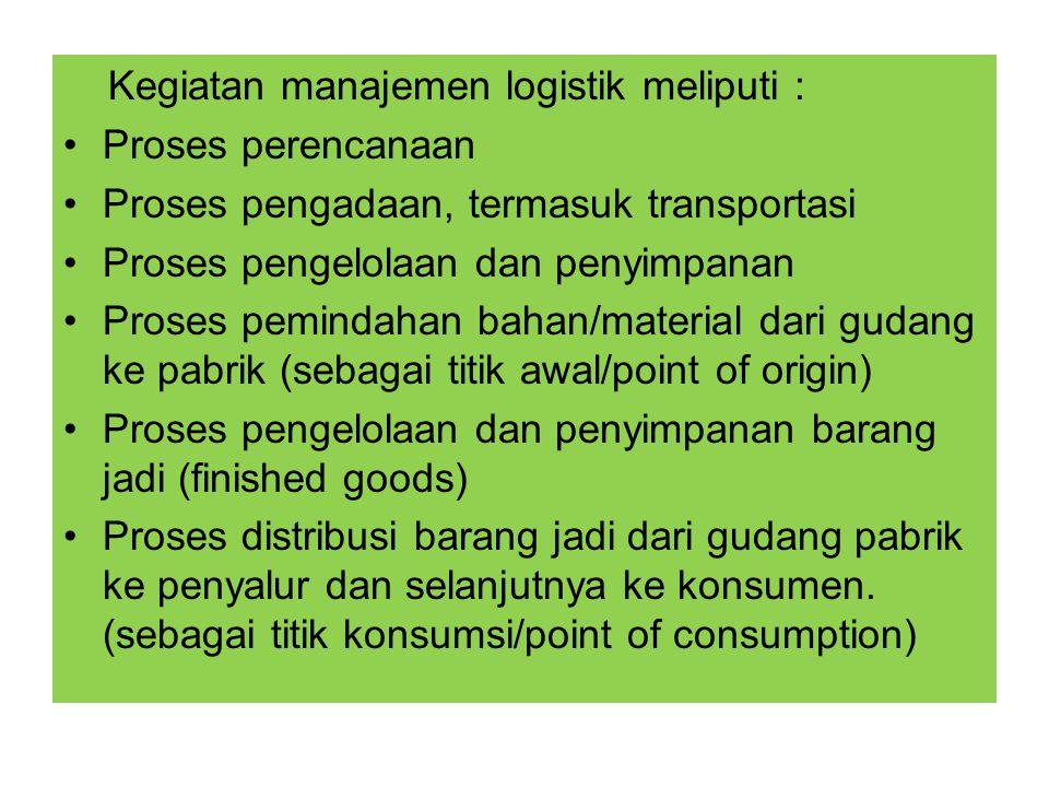 Kegiatan manajemen logistik meliputi :