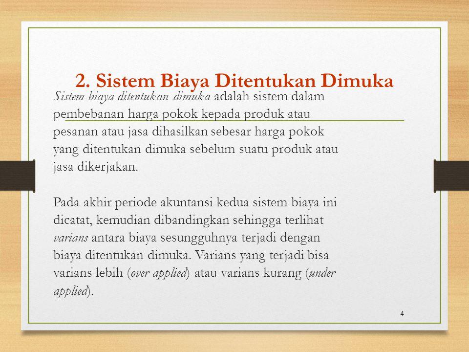 2. Sistem Biaya Ditentukan Dimuka