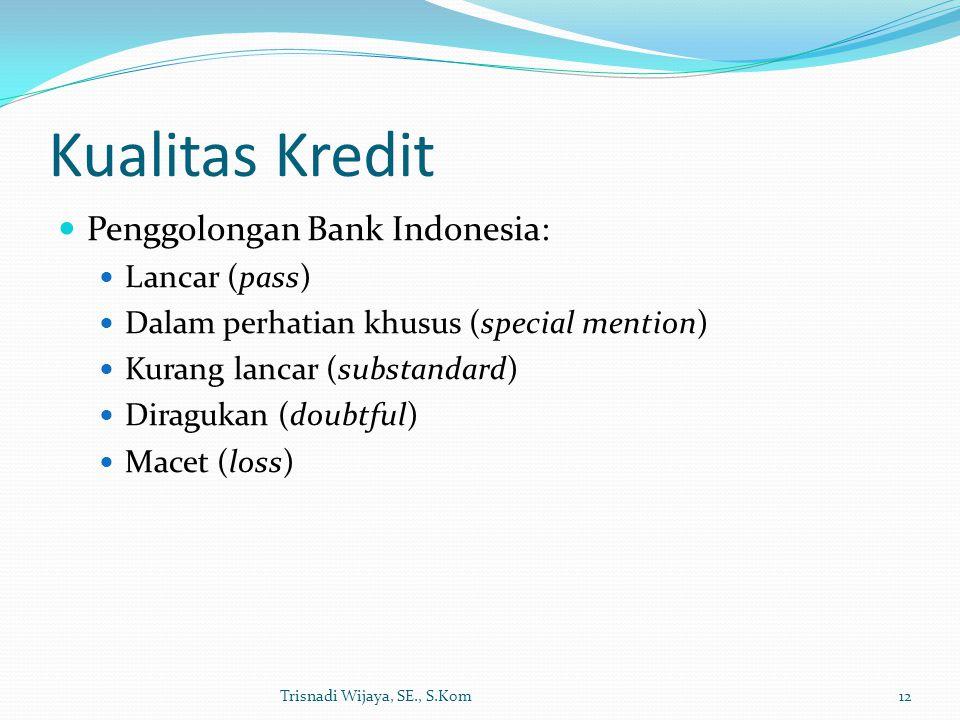 Kualitas Kredit Penggolongan Bank Indonesia: Lancar (pass)