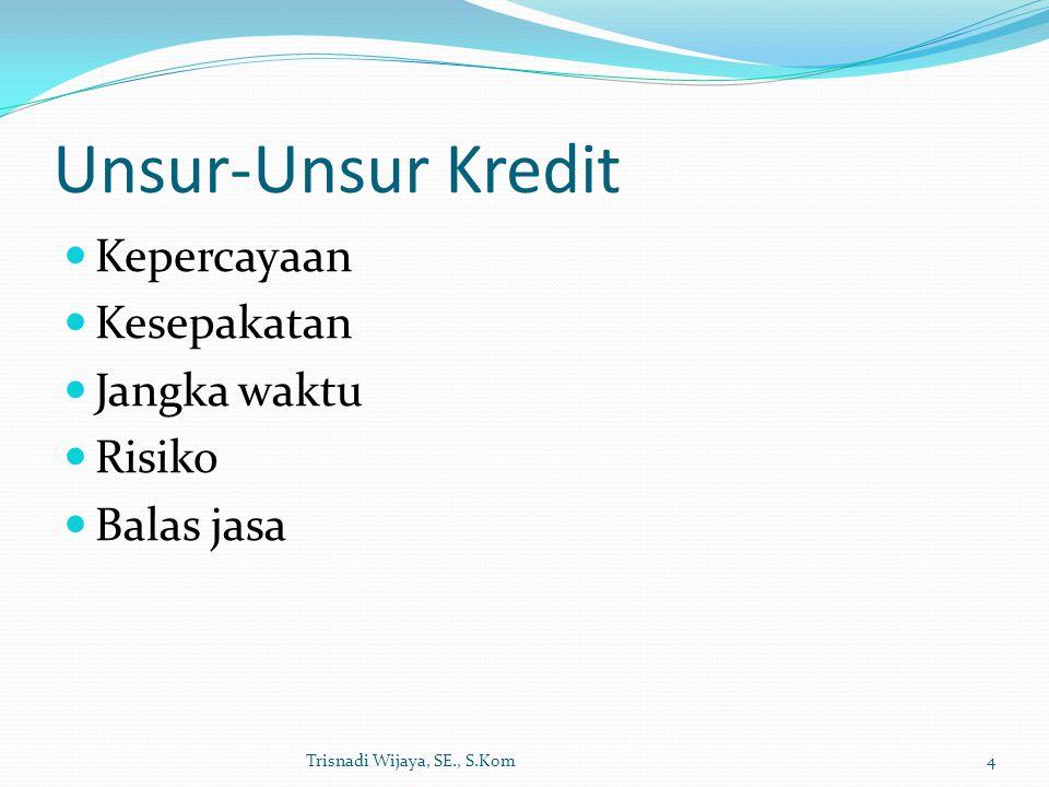 Unsur-Unsur Kredit Kepercayaan Kesepakatan Jangka waktu Risiko
