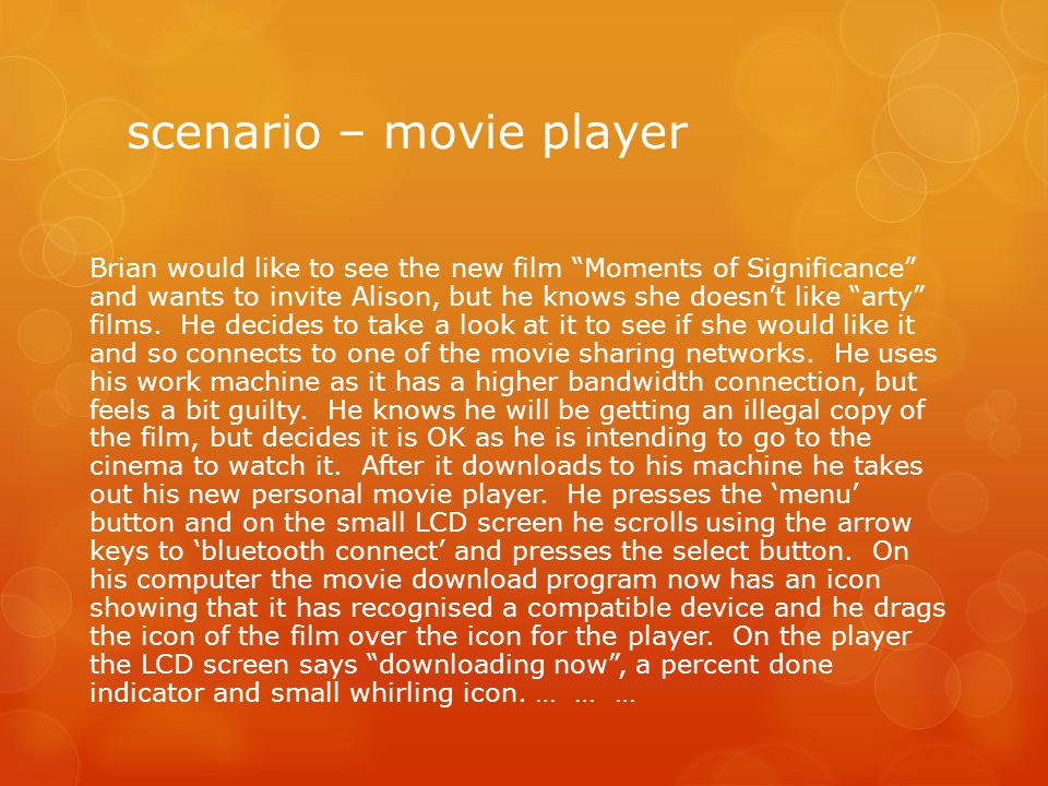 scenario – movie player