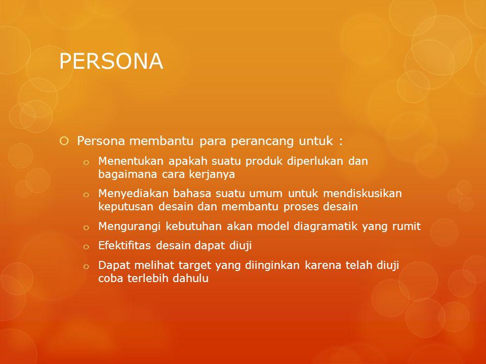 PERSONA Persona membantu para perancang untuk :