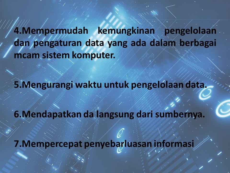 4.Mempermudah kemungkinan pengelolaan dan pengaturan data yang ada dalam berbagai mcam sistem komputer.