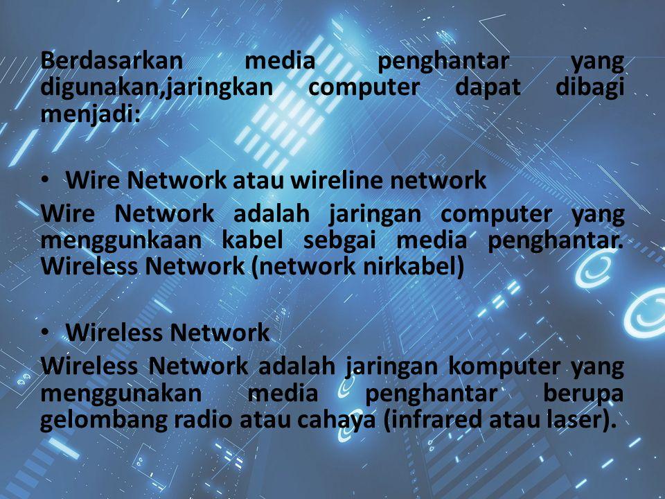 Berdasarkan media penghantar yang digunakan,jaringkan computer dapat dibagi menjadi: