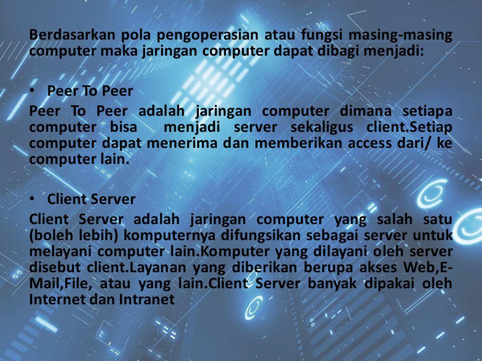 Berdasarkan pola pengoperasian atau fungsi masing-masing computer maka jaringan computer dapat dibagi menjadi: