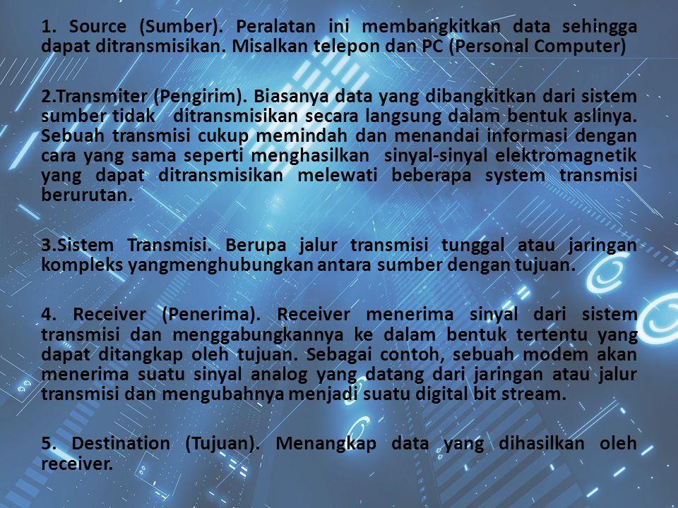 1. Source (Sumber). Peralatan ini membangkitkan data sehingga dapat ditransmisikan.