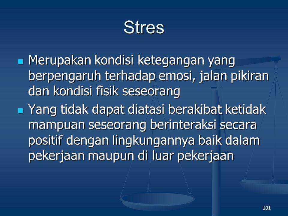 Stres Merupakan kondisi ketegangan yang berpengaruh terhadap emosi, jalan pikiran dan kondisi fisik seseorang.