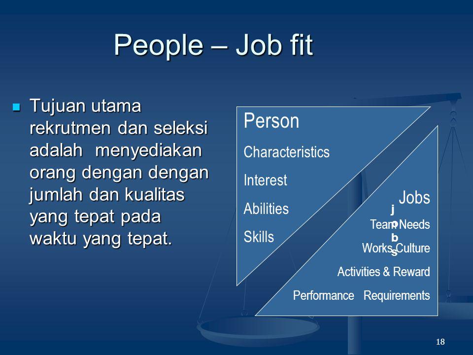 People – Job fit Tujuan utama rekrutmen dan seleksi adalah menyediakan orang dengan dengan jumlah dan kualitas yang tepat pada waktu yang tepat.