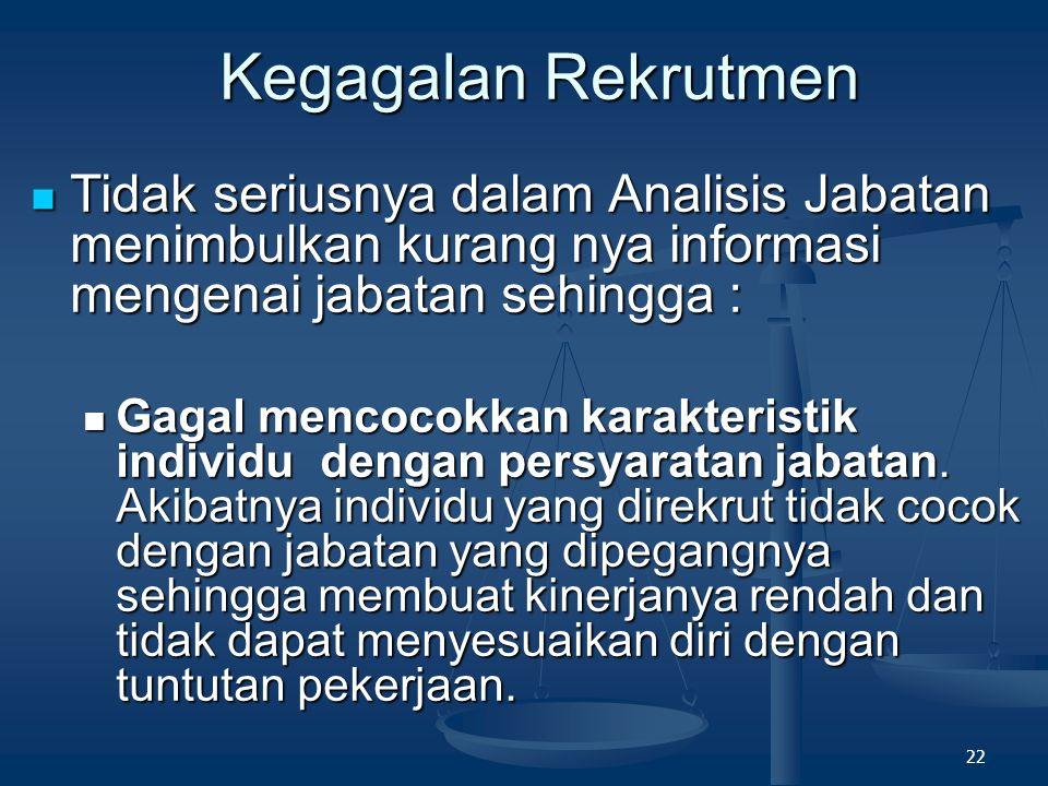 Kegagalan Rekrutmen Tidak seriusnya dalam Analisis Jabatan menimbulkan kurang nya informasi mengenai jabatan sehingga :