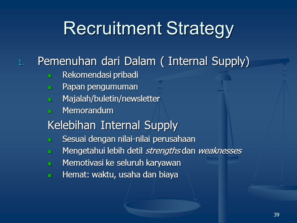 Recruitment Strategy Pemenuhan dari Dalam ( Internal Supply)