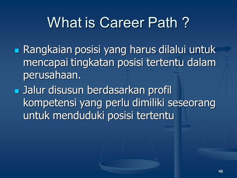 What is Career Path Rangkaian posisi yang harus dilalui untuk mencapai tingkatan posisi tertentu dalam perusahaan.