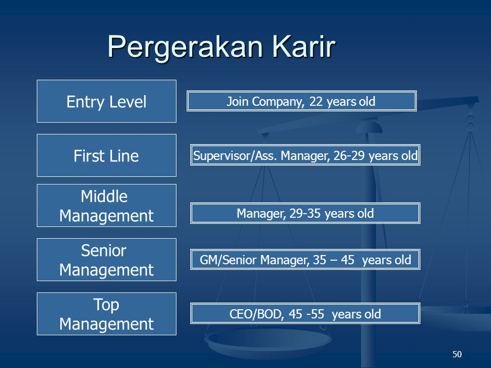 Pergerakan Karir Entry Level First Line Middle Management Senior