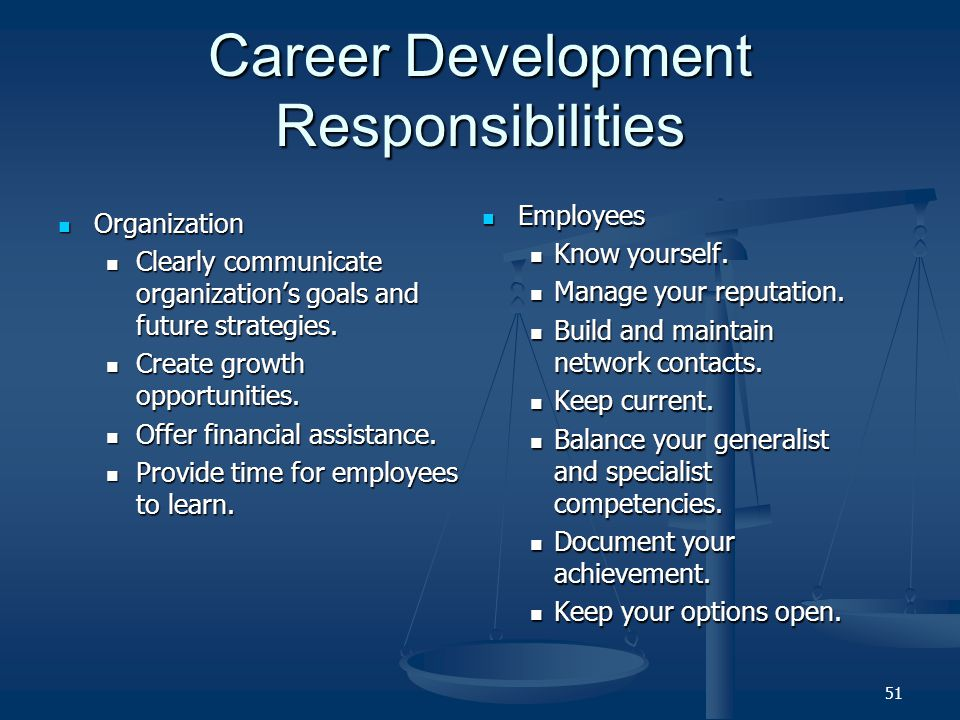 Career Development Responsibilities