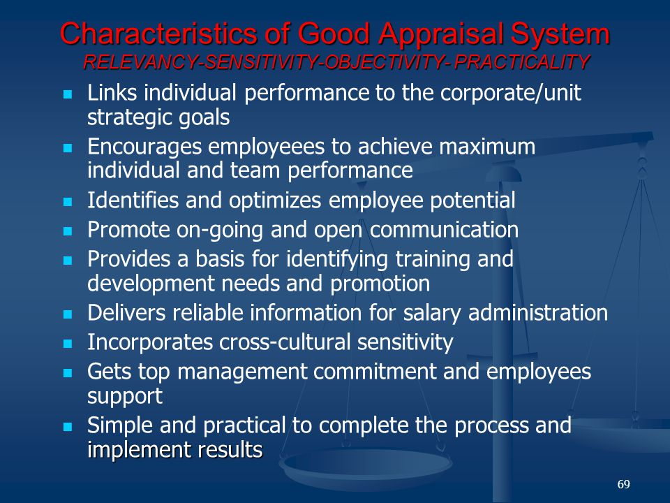 Characteristics of Good Appraisal System RELEVANCY-SENSITIVITY-OBJECTIVITY- PRACTICALITY