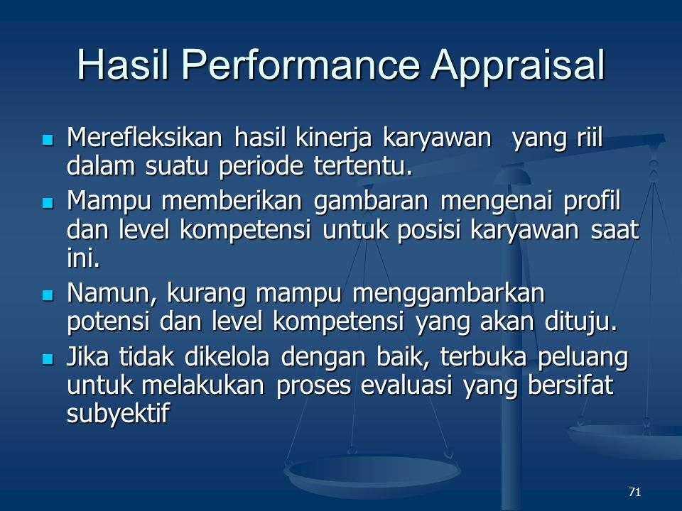 Hasil Performance Appraisal