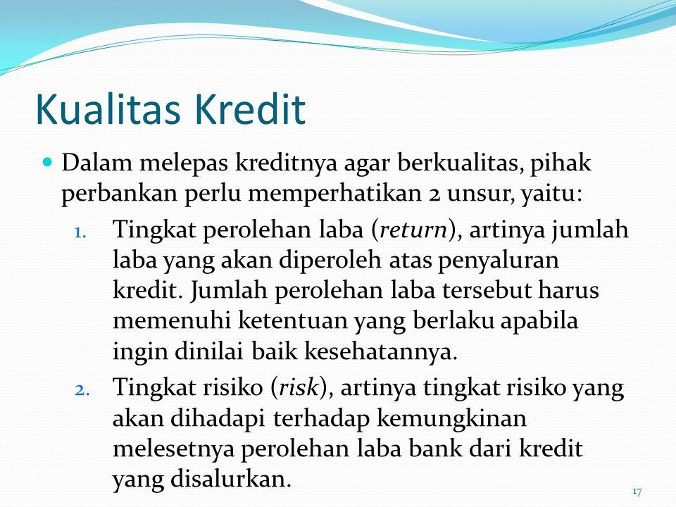 Kualitas Kredit Dalam melepas kreditnya agar berkualitas, pihak perbankan perlu memperhatikan 2 unsur, yaitu: