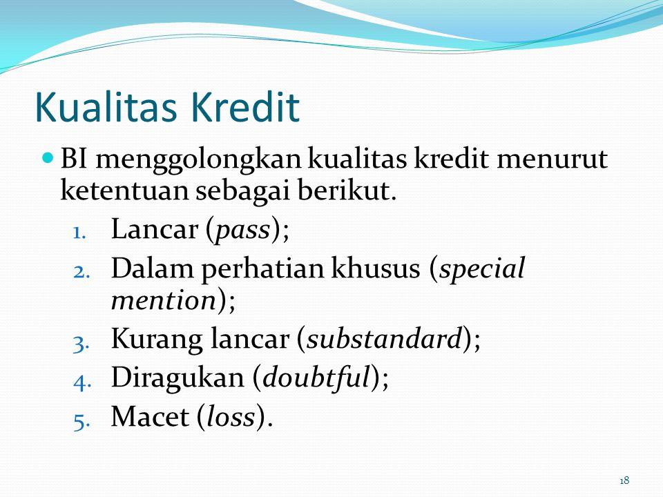 Kualitas Kredit BI menggolongkan kualitas kredit menurut ketentuan sebagai berikut. Lancar (pass);