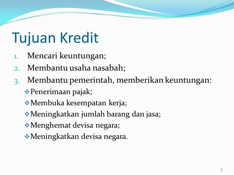 Tujuan Kredit Mencari keuntungan; Membantu usaha nasabah;