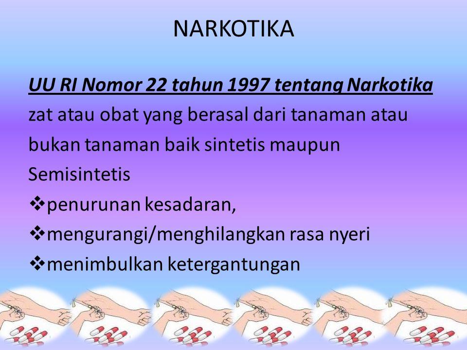 NARKOTIKA UU RI Nomor 22 tahun 1997 tentang Narkotika