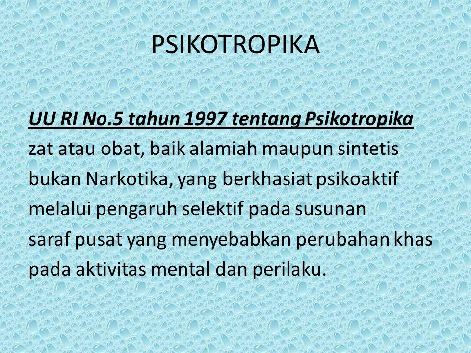 PSIKOTROPIKA UU RI No.5 tahun 1997 tentang Psikotropika