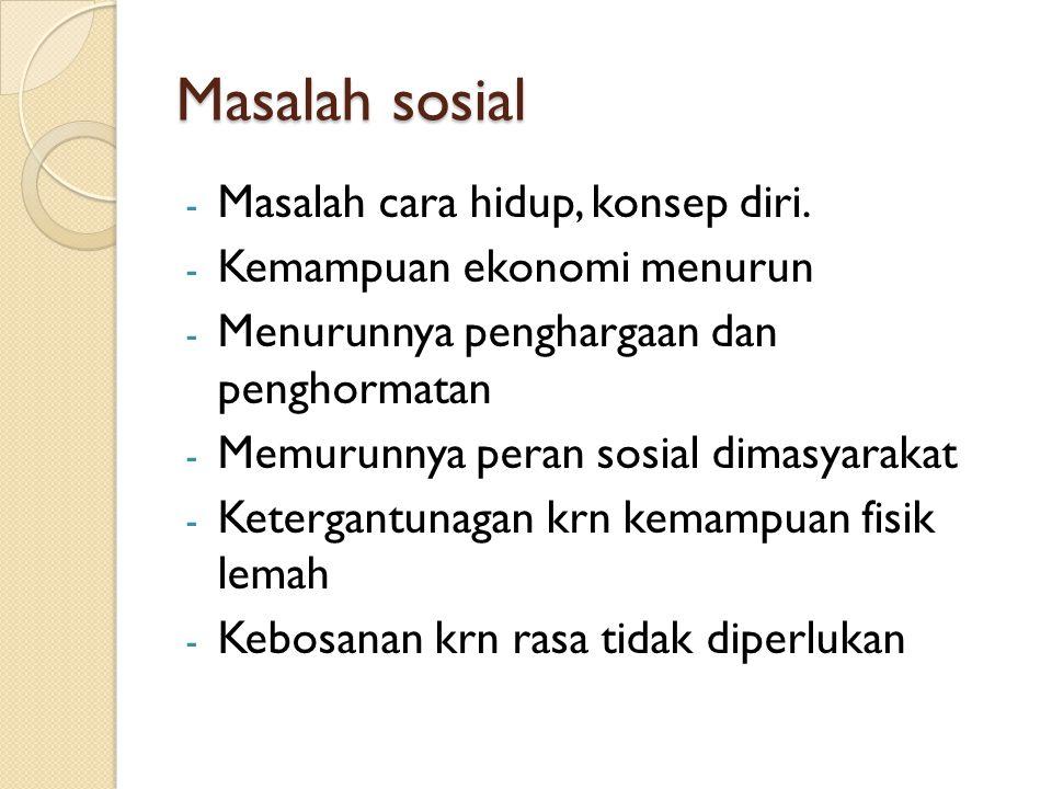 Masalah sosial Masalah cara hidup, konsep diri.