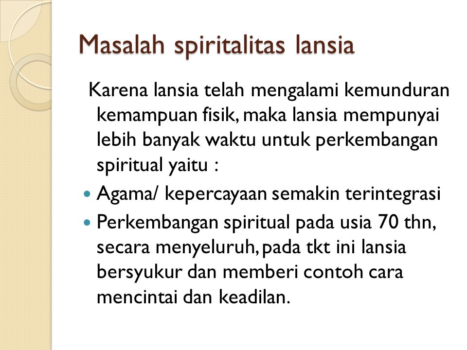 Masalah spiritalitas lansia