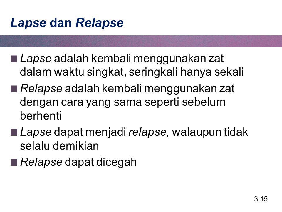 Lapse dan Relapse Lapse adalah kembali menggunakan zat dalam waktu singkat, seringkali hanya sekali.