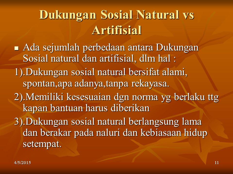 Dukungan Sosial Natural vs Artifisial