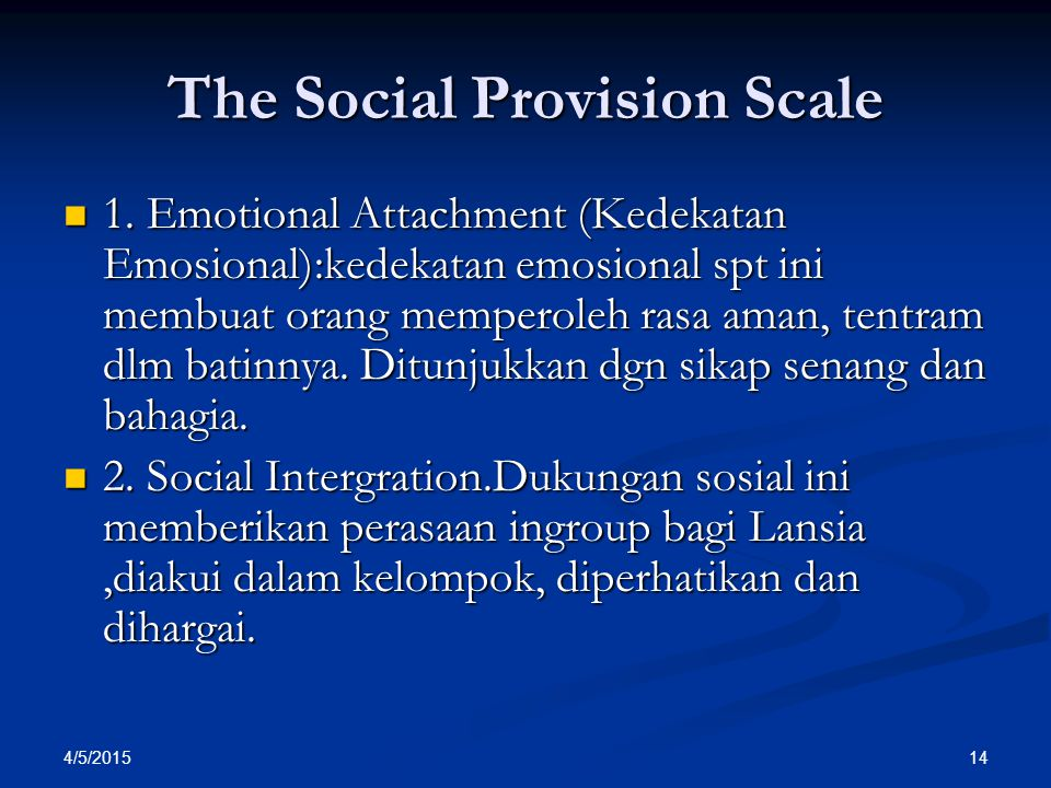 The Social Provision Scale