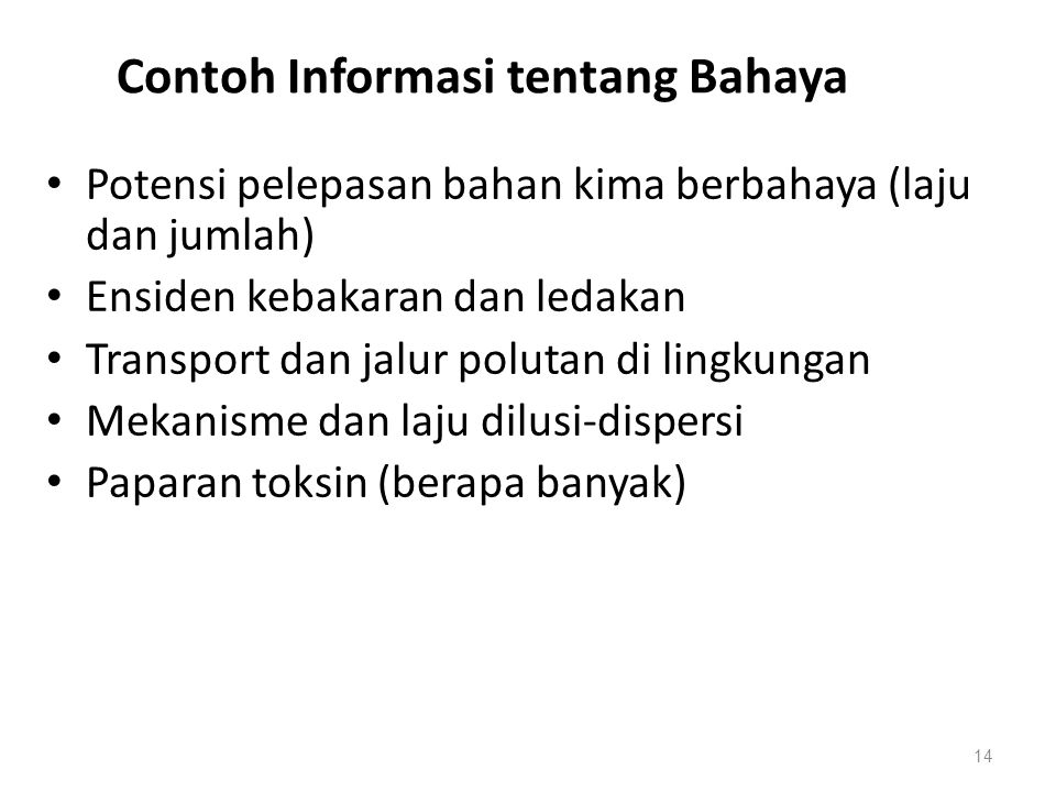 Contoh Informasi tentang Bahaya