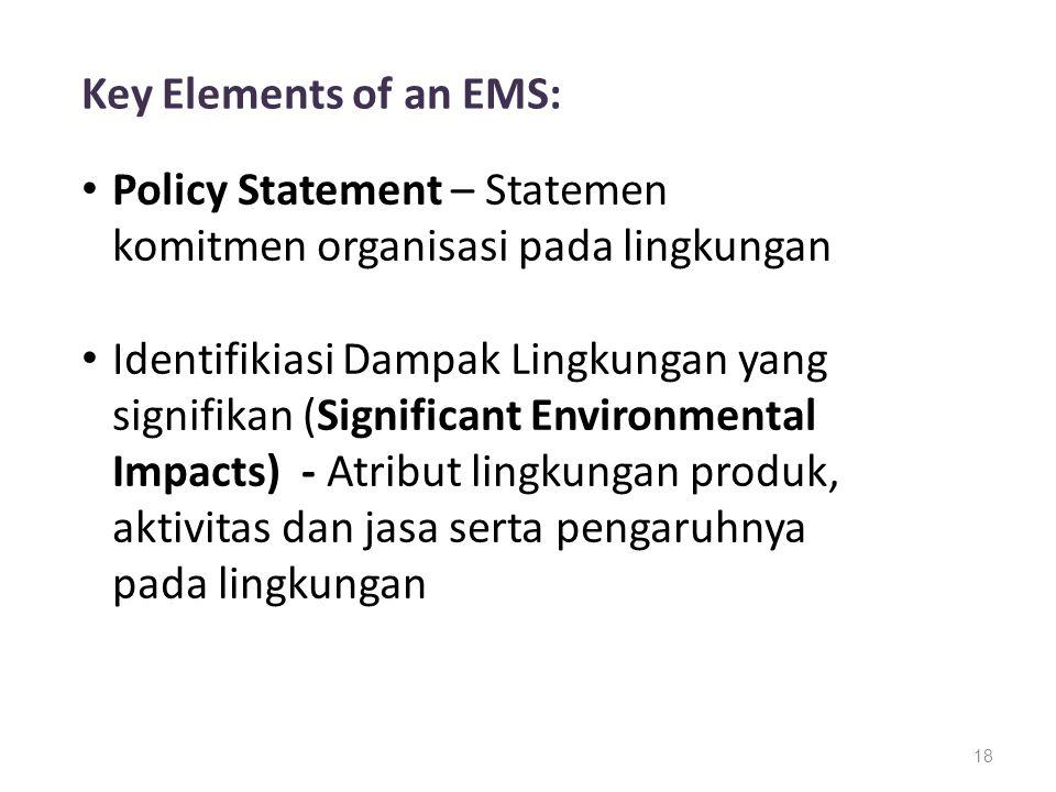 Key Elements of an EMS: Policy Statement – Statemen komitmen organisasi pada lingkungan.