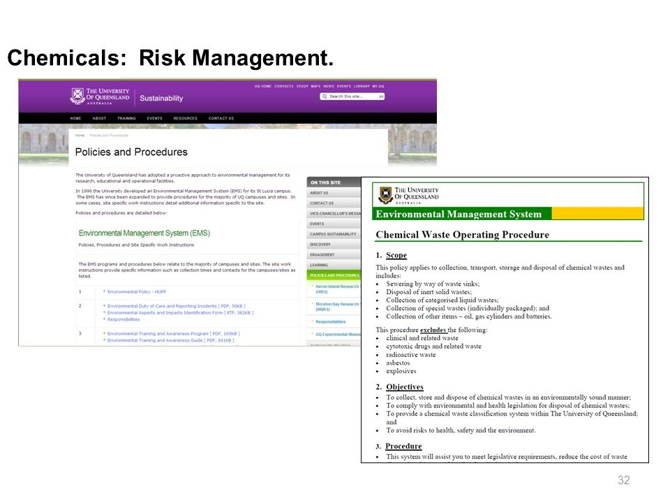 Chemicals: Risk Management.