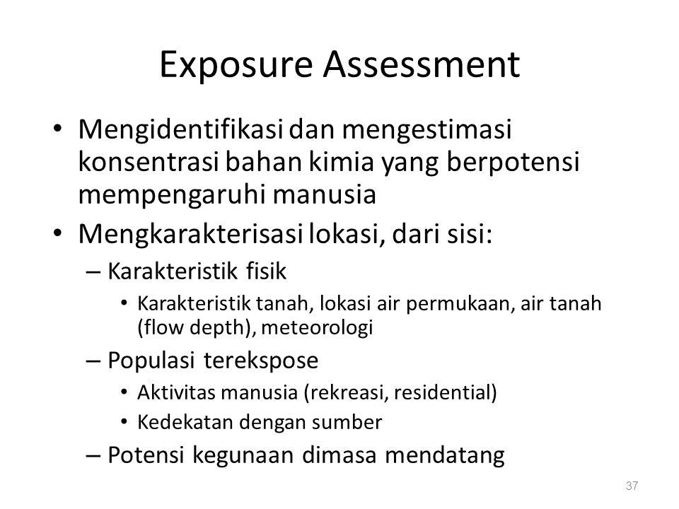 Exposure Assessment Mengidentifikasi dan mengestimasi konsentrasi bahan kimia yang berpotensi mempengaruhi manusia.